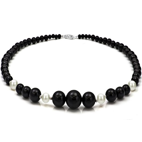 (La Regis Jewelry Sterling Silver 4-16mm Graduated Simulated Onyx 8-8.5mm White Freshwater Cultured Pearl Necklace)