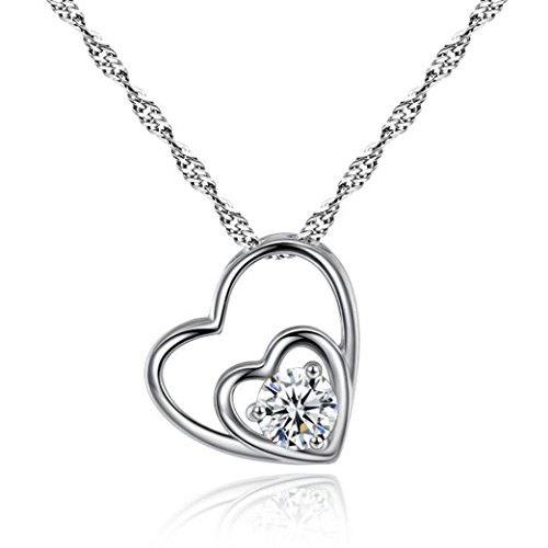 Heart-Shaped Necklace Laimeng Fashion Women Double Heart Pendant Necklace Chain Jewelry (Silver)