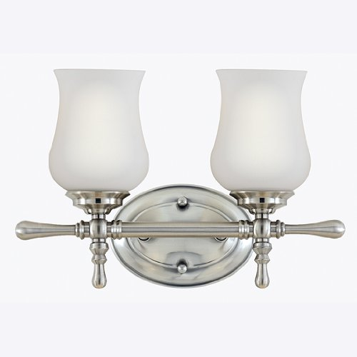 Quoizel PP8602BN Providence 9-Inch x 13-1/2-Inch 2 Light Wall Bath Fixture, Brushed Nickel
