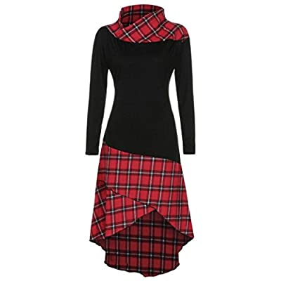 FUNIC Women's High Neck Plaid Pattern Patchwork Dress Long Sleeve Above Knee Length Dresses
