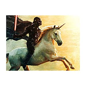 Bucket Titan Vader – Star Wars Unicorn Darth Vader Parody – 9″ x 12″ Gallery Wrapped Canvas Wall Art Reproduction