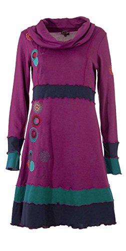 Ärmeln mit Buntes langen und besticktes Kleid On0pZU