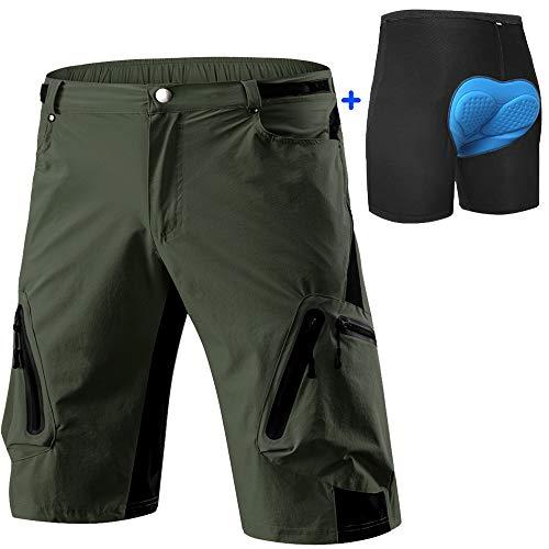 Cycorld Men's-Mountain-Cycling-Biking-Padded-MTB-Shorts (Army Green and Underwear, L(Waist:30.5