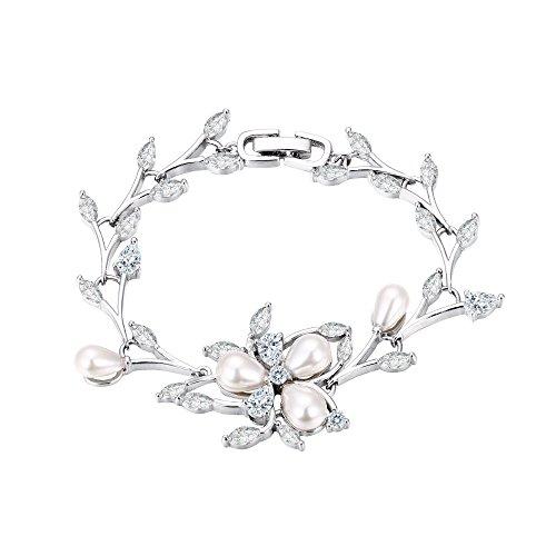 EVER FAITH Women's CZ Simulated Pearl Bridal Flower Leaf Filigree Tennis Bracelet Clear Silver-Tone