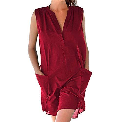 Caopixx Women Casual Sleeveless Dress Summer V Neck Cotton Linen Pocket Tank T-Shirt Dress Red