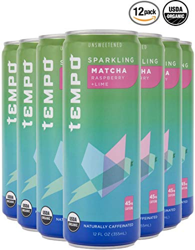 Tempo, Sparkling Tea, Sparkling Water, Matcha, Green Tea, Raspberry, Lime, Unsweetened, Organic - 12 Ounce, 12 Count (Matcha Green Tea, Raspberry, Lime)