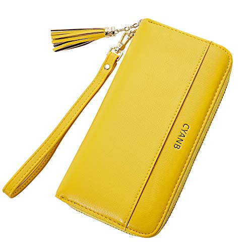 Cyanb Women Wallets Tassel Bifold Ladies Cluth Wristlet Wrist strap Long Purse Chrome Yellow