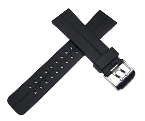 24mm TIMEWHEEL Black Italian Rubber Watch Band Strap for Diver Chronograph Sports Watch