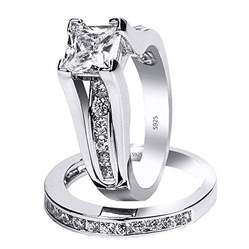 MABELLA 925 Sterling Silver Cubic Zirconia Princess Cut Women's Wedding Engagement Bridal Ring Set Size 7