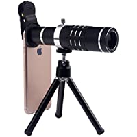 Cell Phone Lens 18X Telephoto Lens Clip-on Mobile Phone Camera with Tripod and Clip for iPhone Samsung HTC LG Most Smartphones (Black)