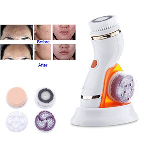 Clean & Clear Massager - Lznlink Professional Deep Facial Cleansing Brush Waterproof Sonic Spin Brushes with Brush Heads Exfoliating Clean System