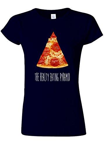 泣いているやむを得ない引用The Healthy Eating Pyramid Pizza Novelty Navy Women T Shirt Top-L