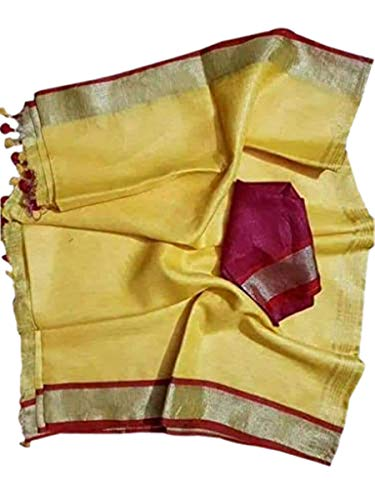 Silk Beaded Georgette - Indian Women's Saree Ethnic Wedding Party Wear Solid Pattern Linen Sari for Wedding, Party, Events