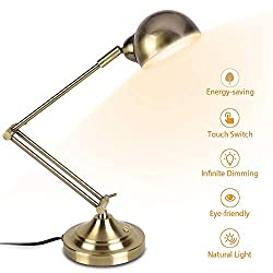 LED Desk Lamp - 7W Energy-Saving, 350° Adjustable Arm, Eye-Caring, Vintage Table Light, Antique Brass Desk Lamp, Dimmable Gold Desk Lamp for Bedroom Office Work