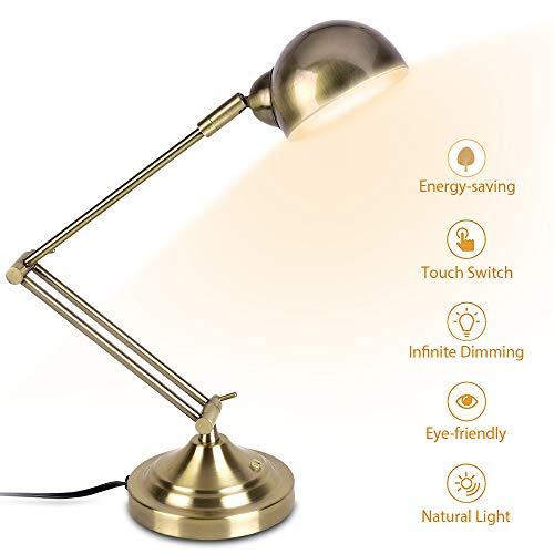 LED Desk Lamp, 7W Energy-Saving, 350° Adjustable Arm, Eye-Caring, Vintage Table Light, Antique Brass Desk Lamp, Dimmable Gold Desk Lamp for Bedroom Office Work (Brass Lamp Reading)
