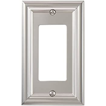 amerelle 94rn continental cast metal wall plate with 1 rocker satin nickel
