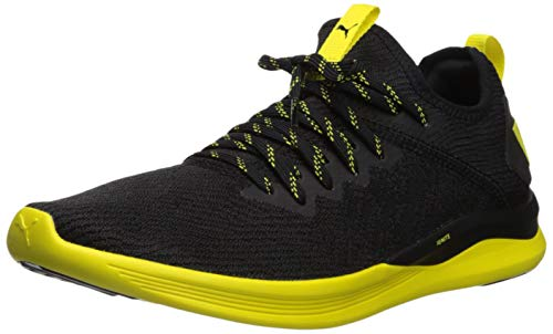 (PUMA Men's Ignite Flash Evoknit Sneaker, Black-Blazing Yellow, 9.5 M US)