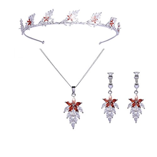 Santfe AAA Cubic Zircon Floral Leaf Platinum Plated Tiara Headband Necklace Earrings Jewelry Set for Prom Brides Wedding Bridesmaids (Style1-Platinum Plated) (Platinum Zircon Earrings)