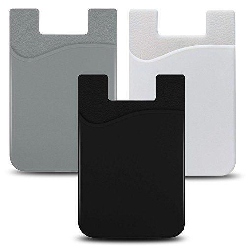 (JINYEXUAN 3pcs Cellphone Card Holder Back Wallet, Silicone Adhesive Stick-on Credit Card ID Card Keeper with (Black+White+Gray))