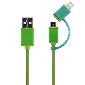 Generic 3Ft 8pines y micro USB 2en 1cable de color verde con función de carga y sincronización de datos extraíble de silicona