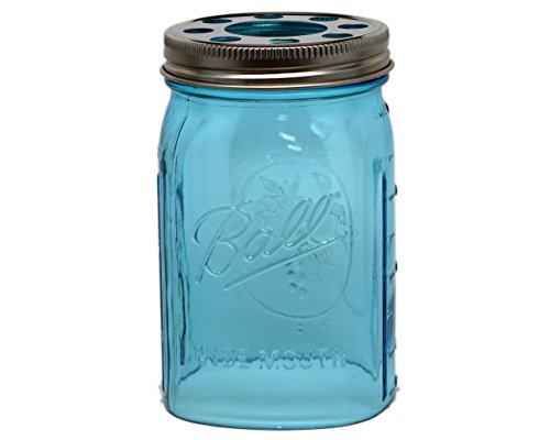 Open Bottom Mason Jar Glass Shade with 1-5/8-Inch Fitter Opening Lighting Lid (WM Quart Ball Jar, (Colored Glass Pendant)