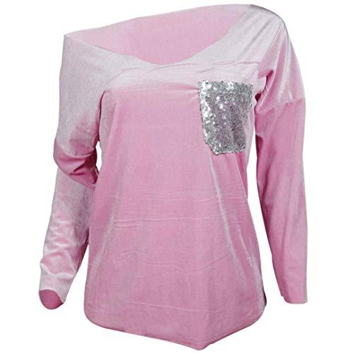 à De Lâche couleur Pullover T capuche Couleur Rose Dessus Tops Robes shirts Taille S De Zhrui Chemise Décontracté V Décontracté Col Élégant Mode Automne Route Automne Poche Sweat Femmes S4EZwqRP