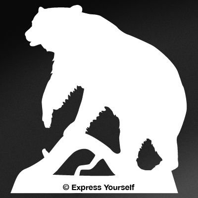 Black Bear (White - Image Facing as Shown - Large) Decal Sticker - Big Game Collection - Bear (Bear Archery Decal)