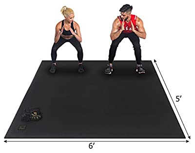 Gxmmat Large Exercise Mat 72''x60''(6'x5') x 7mm Ultra Durable, Non-Slip, Premium Workout Mats for Home Gym Flooring - Plyo, MMA, Jump, Cardio Mat