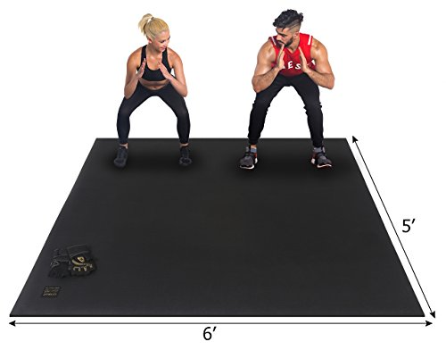 GXMMAT Large Exercise Mat 6'x5'x7mm, Non-Slip Workout Mats for Home Gym Flooring, Extra Wide and Thick Durable Cardio Mat, High Density, Shoe Friendly, Great for Plyo, MMA, Jump Rope, Stretch, Fitness