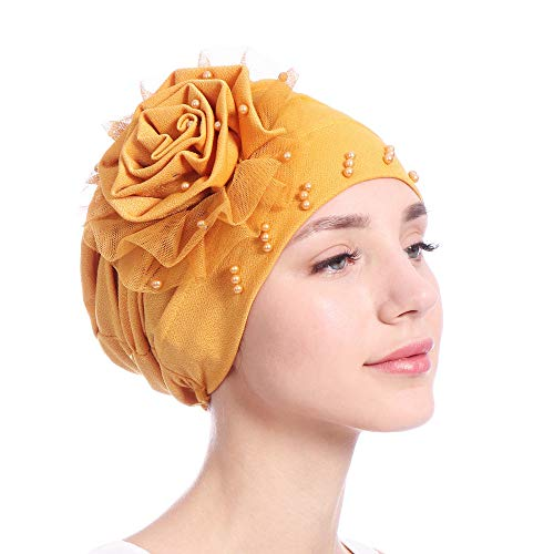XOWRTE Women's Winter Velvet Muslim Hat Ruffle Cancer Scarf Turban Wrap Beanie Cap