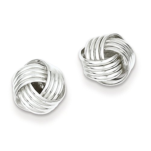 Designs by Nathan, 925 Silver Romantic Love Knot Stud Earrings, Several Styles, Rhodium Plated Sterling Silver Knot Design