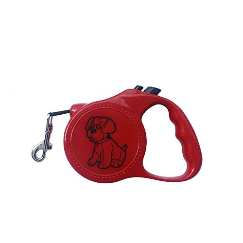 3M Automatic Retractable Led Dog Collar Correa Perro Pitbull Pet Traction Rope Dog Necklace Collar Led Perro Dog (Red) (Perros Pitbull)