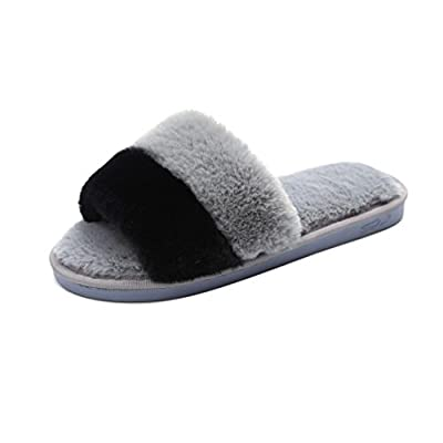 AMA(TM) Women Soft Plush Flat Slippers Winter Autumn Home Bedroom Slippers