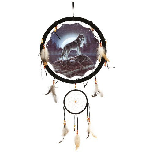 Wolf Dream Catcher 13'' with Real Feathers