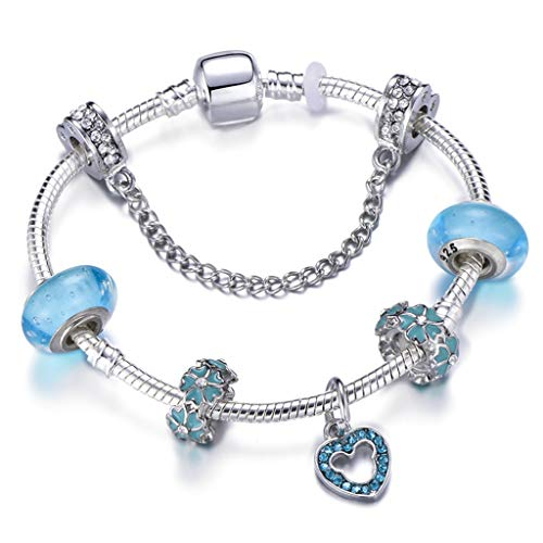 Fashion Ocean Style Charm Bracelets Bangles with Murano Glass Beads Crystal Ball BrBracelet for Women Wedding Jewelry Gift - Murano Glass Bead Rosary Bracelet