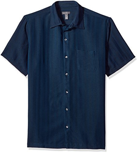 Van Heusen Men's Air Short Sleeve Button Down Poly Rayon Stripe Shirt, Blue/Black Iris, Medium