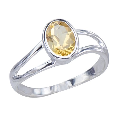 Caratera Womens Rings Classic Art Deco Genuine Natural Citrine Gemstone Bezel Set Sterling Silver Womens Ring