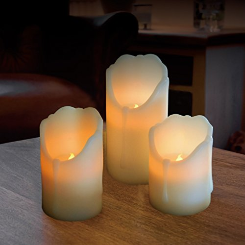"Set of 3 real Ivy wax Flickering Flameless LED Candles in 3 different lengths of 4"", 5"" and 6"", making them ideal for Weddings, Birthdays, Christmas and all celebratory - Real Christmas Living Decorations"