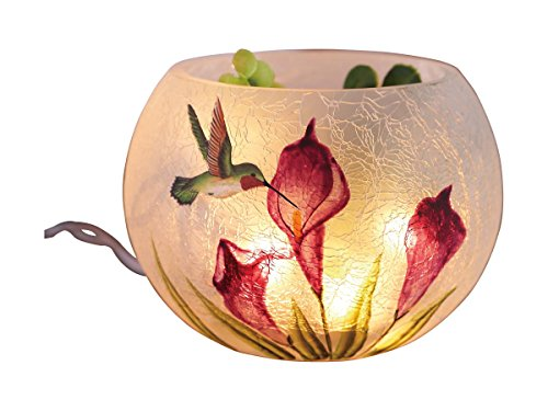 Transpac Round Glass Hummingbird Vase with LED Lights