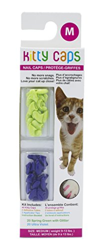 Kitty Caps Kitty Caps Nail Caps for Cats | Safe & Stylish Alternative to Declawing | Stops Snags and Scratches, Medium (9-13 lbs), Spring Green with Glitter & Ultra Violet