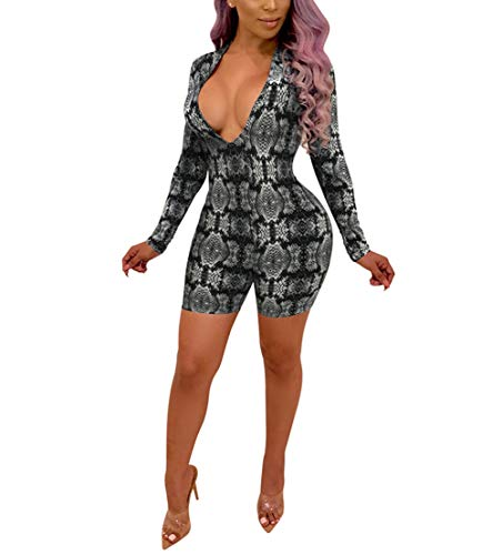 Jumpsuit Skin - Womens Sexy Deep V Neck Snakeskin Print Long Sleeve Short Pants Jumpsuit Rompers Gray Size M