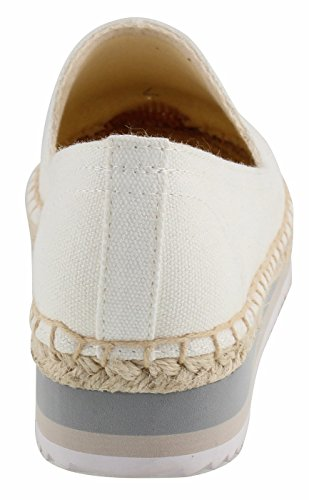 Espadrilles Women's Lovely White Rubber Sole Canvas U Slip Smoking with Soft Solid lite Embroidery Pattern Loafers Eva on vRqn5gw