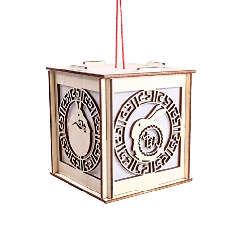 LUOEM Easter Rabbit DIY Hanging Lantern Wooden Rabbit Decorative Square Light Pendant with Chinese Knot for Easter Party Decoration (Lanterns Easter)
