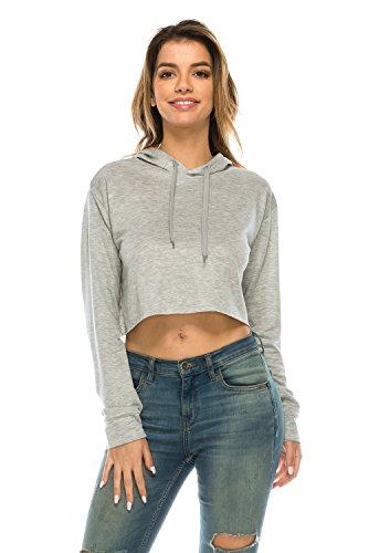 The Classic Women's Loose Cropped Long Sleeve Drawstring Hoodie Sweatshirt (Medium, (Classic Drawstring Pullover)