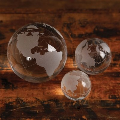 Set of 3 Clear Glass Etched Globes