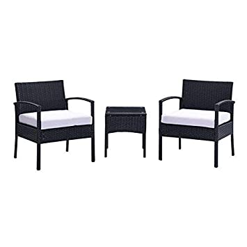 mecor Outdoor Furniture Set,Rattan Wicker Patio Set Cushioned Sectional Sofa Glass Coffee Table, Garden,Backyard,Lawn Furniture Black-3pc