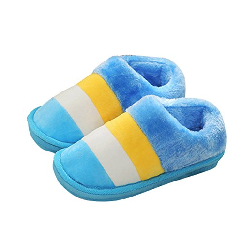 Dear Time Suede Slip on Slippers Plush Flat Closed Toe Clog Indoor and Outdoor Shoes with Non-Slip Sole Blue 6ybvyObe