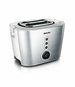 Philips HD2636/00 Toaster aus Edelstahl, 1000 W, mit Brötchenaufsatz, Silber