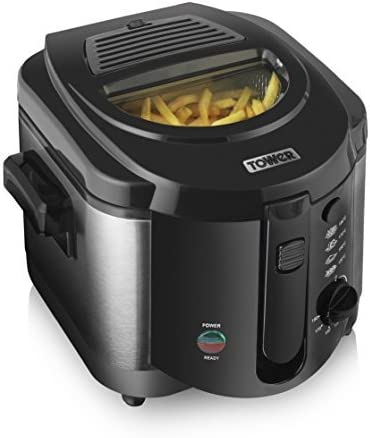 Tower T17001 2L Small Deep Fat Fryer with Viewing Window, Easy Clean, Adjustable Thermostat Control, 1500 W, 2 Litre, Black , Black/Silver