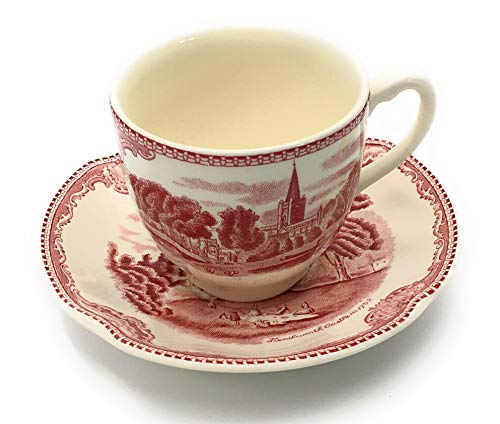 - Johnson Brothers Old Britain Castles-Pink (England 1883) Flat Cup & Saucer Set, Fine China Dinnerware